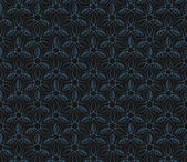 Seamless blue leaf vine line pattern background — Stock Vector