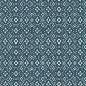 Seamless vintage blue flower diamond check pattern background. — Stock Vector