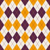 Seamless purple and yellow diamond check dot line pattern background. — Stock Vector