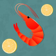 Shrimp with lemons dish — Vector de stock  #65108869