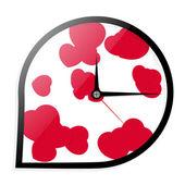 Wall clock with hearts — Stock Vector