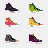 Set of multicolored sneakers — Stock Vector