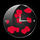 Glass clock with hearts — Stock Vector
