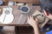 Luthier and the rosette — Stock Photo