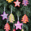 Christmas tree ornaments - trees and stars — Stock Photo #58760135