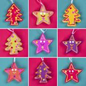 Christmas tree ornaments collage — Stock Photo