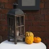 Lantern with pumpkins — Stock Photo