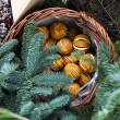 Dry orange in basket. Christmas fir tree wreath decorated with artificial flowers — Stock Photo #62236333