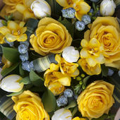 Wedding bouquet of yellow flowers - anemone, rose and tulip — Stock Photo