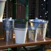 Zinc buckets for water — Stock Photo