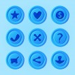 Постер, плакат: Game UI menu blue elements vector set for mobile game star heart money accept decline share buy download buttons for app development