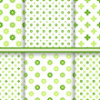 Set of fresh green flowers seamless patterns - vector endless texture — Stock Vector #52457673