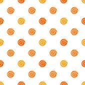 Warm polka dot vector seamless pattern - polka design in orange colors — Stock Vector