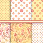 Polka dot abstract set of seamless patterns in warm yellow colors - vector polka design texture — Stock Vector