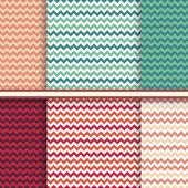 Bright set of seamless patterns with fabric chevron texture - vector abstract geometric backgroun — Stock Vector