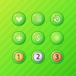 Постер, плакат: Set of bright green game UI vector elements menu restart add money buttons and prize medal