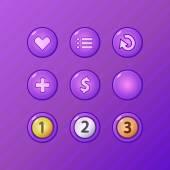 Set of game UI vector elements - violet menu, restart, add, money buttons and prize medals for gamedev — Stock Vector