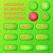 Game UI elements - vector green buttons and font for game development — Stock Vector