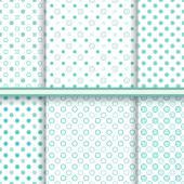 Set of blue soft polka dot seamless patterns (tiling) — Stock Vector