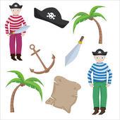 Векторная коллекция объектов пират в мультяшном стиле — Cтоковый вектор