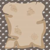 Old pirate treasure map on brown background made with skulls — ストックベクタ