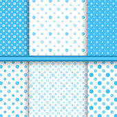 Set of bright blue childish different vector seamless patterns (tiling) — Stock Vector