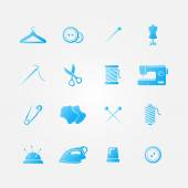 Set of blue 16 sewing tools icons — Stock Vector