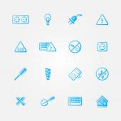 Electricity vector blue icons — Stock Vector