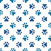 Blue pet or animal footprint seamless pattern — Stock Vector