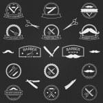 Vector set of barber shop logo on dark background — Stock Vector #60586035