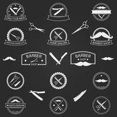 Vector set of barber shop logo on dark background — Stock Vector