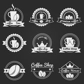 Set of coffee shop logos or vintage vector labels, bages — Stock Vector