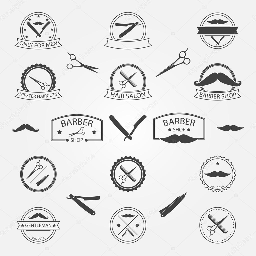 Vector set of barber shop logo — Stock Vector © sn3g #60586767