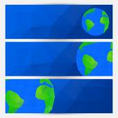 Vector set of blue world globe banners — Stock Vector