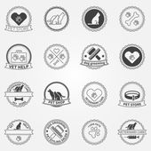 Dog ans cats black logos and badges — Stock Vector
