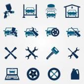 Auto service and repair flat icon set — Vetor de Stock