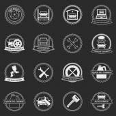 векторные автомобильные сервисные эмблемы и значки — Cтоковый вектор