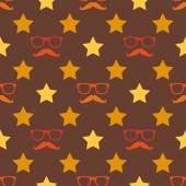 Vector hipster moustache and spectacles seamless pattern — Stock Vector