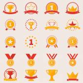 Set of awards and victory icons — Stock Vector