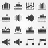 Sound or music sound wave icons vector set — Stock Vector
