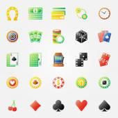 Casino icons bright set — Stock Vector