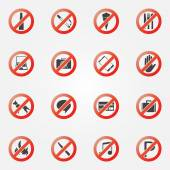 Prohibited or restriction icons set — Stock Vector