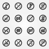 Prohibited or restriction symbols set — Stock Vector