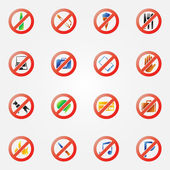 Restriction icons or symbols set — Stock Vector