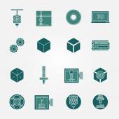 3D print icons vector set — Stock Vector