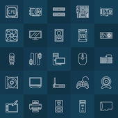 Computer components linear icons — Stock Vector