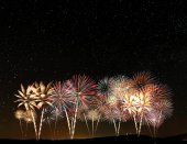 Fireworks at the starry sky — Stock Photo