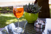 Glass of Aperol Spritz with ashtray and cactus — Stock Photo
