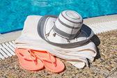 Beach accessories at the pool — Foto de Stock