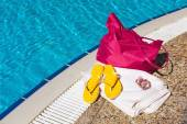 Beach accessories at the pool — Stock Photo
